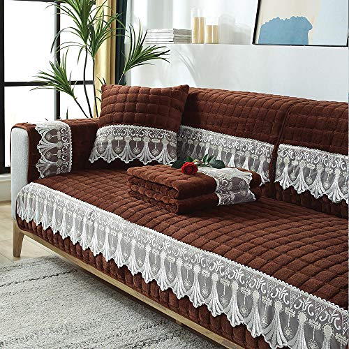 Funda de Sofá Chaise,Cotton Thick Corner Sofa Slipcover,Living Room Fabric Sofa Covers,for 1/2/3/4/5 Seater Sofa,Cojín de sofá de Terciopelo a Cuadros con Encaje-Marron Oscuro_Los 90×70cm