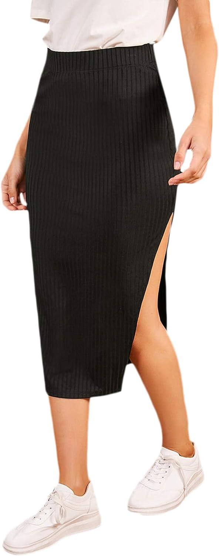 SheIn Women's Slit Midi Skirt Split Bodycon Pencil Ribbed Knit Midi Skirts