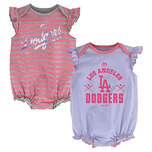 Los Angeles LA Dodgers Girls 2pc Creeper Bodysuit