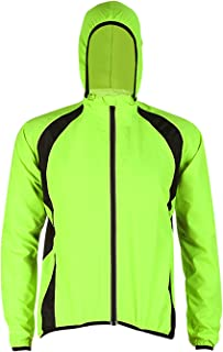 Men's Windproof Water Resistant Running Cycling Jacket with Hoodie Long Sleeve Bicycle Wind Coat