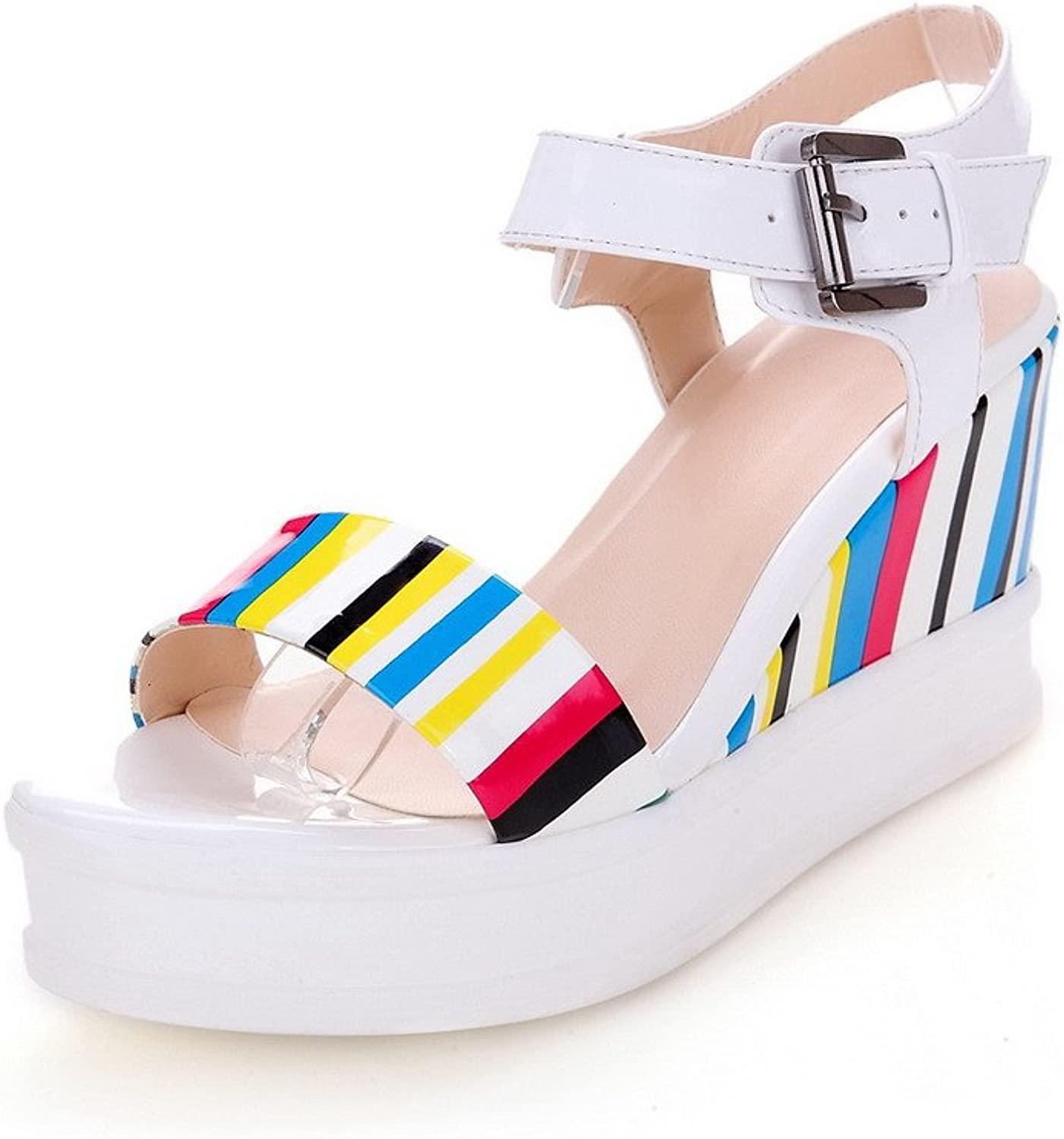 AmoonyFashion Women's Soft Material Open-Toe High-Heels Buckle Assorted color Sandals