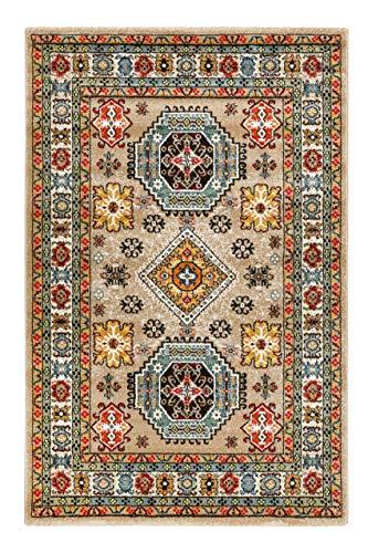 Colorful Marrakesh - Alfombra de pelo corto oriental para salón, pasillo, dormitorio, Majorelle (133 x 200 cm, beige arena)