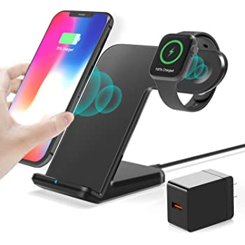 Dual Wireless Charger Qi-Certified by TechRat iWatch Series 5//4//3//2 Galaxy Devices Compatible with iPhone 11//11 Pro//Max//XR//XS//8 2 in 1 Wireless Charger for Apple 10W Fast Charging Stand