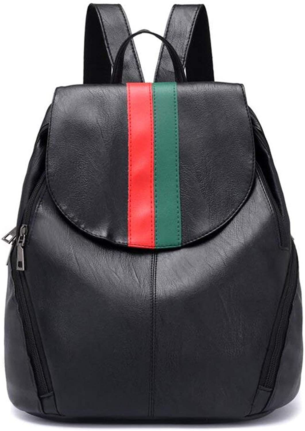 Men's Fashion Backpack Backpack Waterproof Travel Leisure Fashion PU (color   Red Green, Size   M)