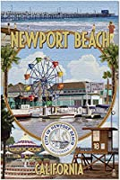 HD ニューニューポートビーチカリフォルニア-ニューポートビーチモンタージュ(米国製52x38cm大人用プレミアム500ピースジグソーパズル!)