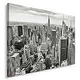 Feeby. Wandbild - 1 Teilig - 80x120 cm, Leinwand Bild Leinwandbilder Bilder Wandbilder Kunstdruck, New York, Architektur, SCHWARZ-WEIß