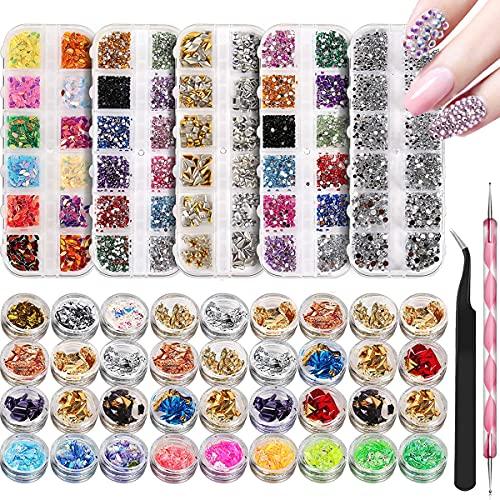 Acmerota 5 cajas de diamantes de imitación para decoración de uñas, 22 estilos, colores, decoración de uñas profesional con 36 macetas, láminas, copos, pinzas, bolígrafo, gemas de uñas, kit