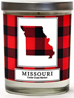 Missouri Buffalo Plaid Scented Soy Candle   Fraser Fir, Pine Needle, Cedarwood   10 Oz. Glass Jar Candle   Made in The USA   Decorative Candles   Going Away Gifts for Friends   State Candles