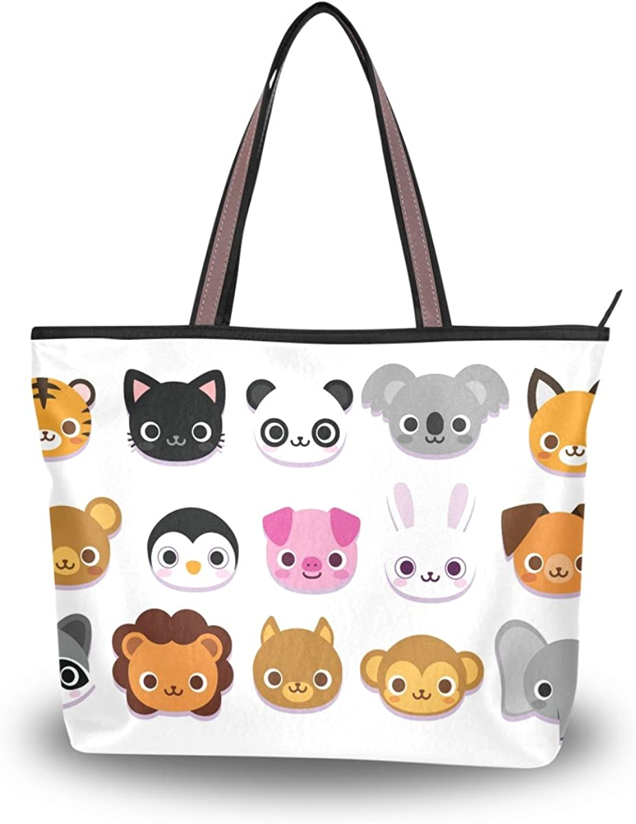 JSTEL Women Large Tote Top Handle Shoulder Bags Cute Cartoon Animals Patern Ladies Handbag