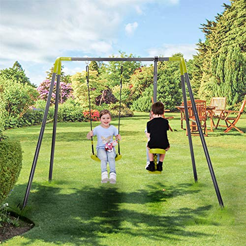 Harper & Bright Designs 2 in 1 Metal Swing Set ,Kids Swing Set for Backyard, Heavy Duty Outdoor Swing Set with A-Frame, Adjustable Hanging Rope , Multiple Kids Playground Equipment for 3y-12y