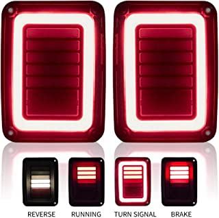 Upgraded Jeep Wrangler JK LED Tail Lights Smoked for 07-17 Jeep Wrangler Reverse Light Turn Signal Lamp Running Lights, 2 Years Warranty