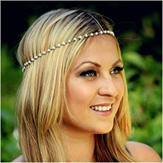 CanB Pearl Head Chain Jewelry Boho Headpiece Fashion Gold Headband Charm Hair Chian for Women and Girls