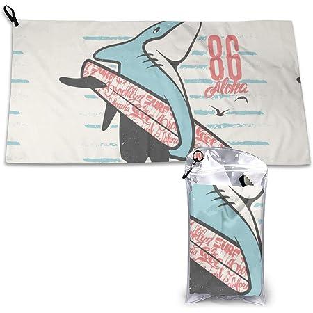 Toalla de microfibra personalizada con estampado de tiburón, ideal para deportes, viajes y playa, secado rápido, súper absorbente, ultra compacta. Adecuado para camping, gimnasio, playa, natación, mochilero