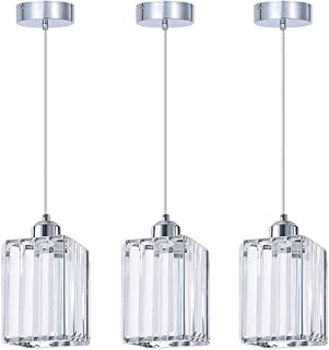 SHENGQINGTOP Modern Crystal Pendant Light for Kitchen Island, Bedroom, Living Room (Cuboid Pendant Light)