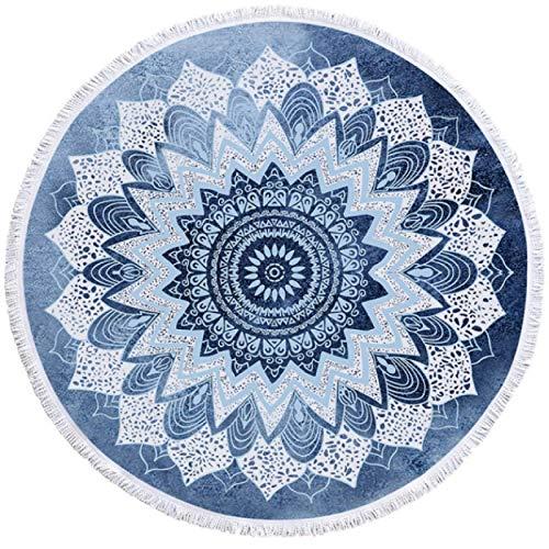 GermYan Mandala Toalla de Playa Redonda Bohemia Cobalto Azul Borla Tapiz Boho Yoga Mat Manta Floral 150Cm
