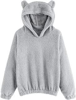 Leomodo Women's Fleece Hooded Ears Long Sleeve Sweater Jacket Hoodie
