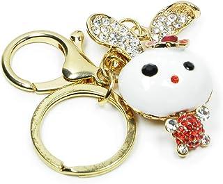 Cute Rabbit Keychains Crystal Rhinestone Key Chain Sparkling Bunny Key Ring Purse Charms for Handbags Holiday Gift