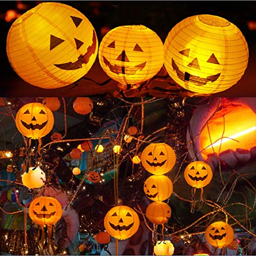 GeeRic Decorazioni Halloween, 5PCS Halloween Zucca Lanterne di Carta per Halloween, Strega Zucca Arancia (Non Include Bastone di Lanterna)
