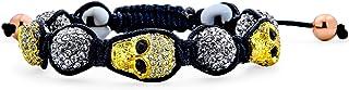 Bling Jewelry Goth Gunmetal Oro Teschi Sfera Cristallo Palla Shamballa Ispirato Braccialetto per Donne per Gli Uomini Cord...