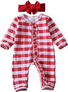 Newborn Infant Baby Girls Ruffled Plaid Romper+Bow Headband Jumpsuit Christmas Long Sleeve Buffalo Check Outfit