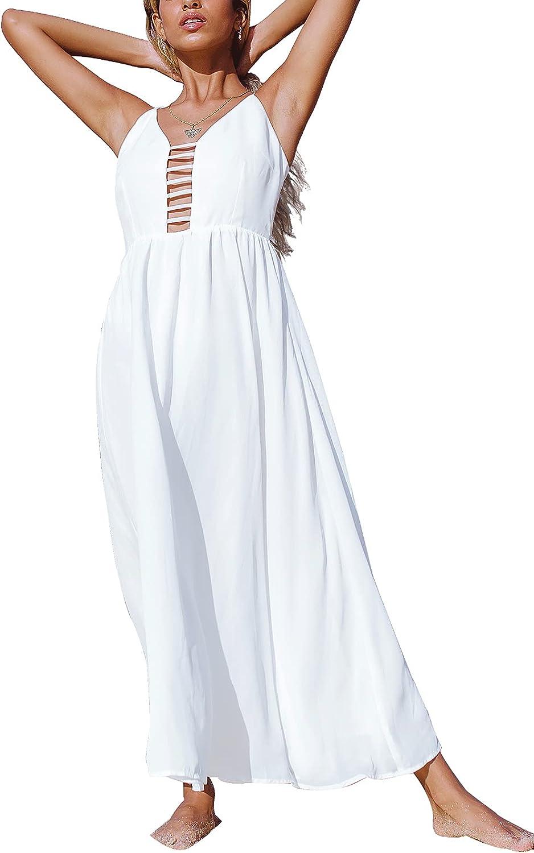 CUPSHE Women's White Smocked Strappy Back Cross Sleeveless Mid Calf Dress