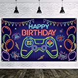WATINC Neon Video Game Happy Birthday Backdrop Banner Neon Blue Game On Level Up Go Win Bonus Point Balloons Gaming Themed Party Wall Decorations Supplies Photo Props for Boys Girls Home 79x45 Inch
