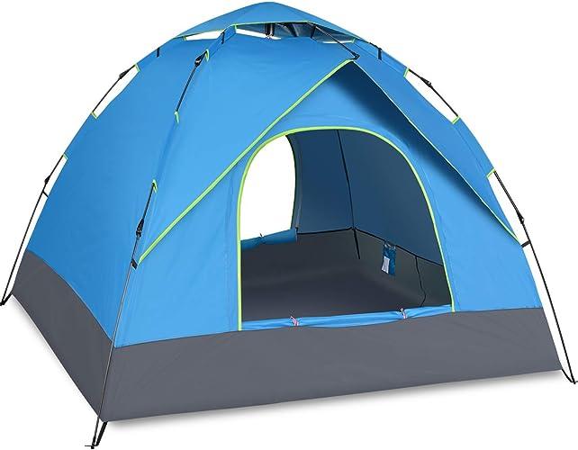 JW-DDP Tente Camping Instant Setup, Tente 3-4 Personnes, Double Couche, imperméable Pendant 4 Saisons