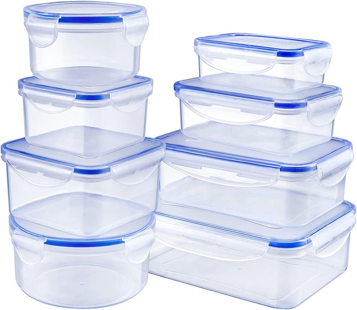 Fiambreras, Set de 8 Recipientes para Alimentos Plástico Sin BPA, Apto para Lavavajilla, Microondas, Congelador Set de Recipientes Herméticos