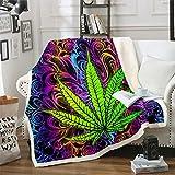 Feelyou Throw Blanket Marijuana Weed Fleece Blanket Men Cannabis Leaf Sherpa Blanket for Sofa Couch Bed Trippy Marijuana Leaf Decor Plush Blanket Ultra Soft Kids Adults Fuzzy BlanketThrow 50'x60'