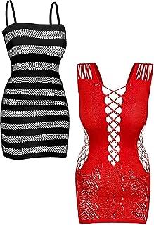 ملابس داخلية شبكية يمكن رؤية ما ورائها قصيرة للنساء عبوة من 2