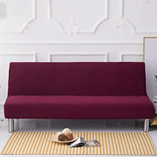 D&LE Color sólido Sin Brazos Funda de sofá, Poliéster Stretch Sofá Fundas Protector de sofá plazas Se Plegable Sofá Cama sin Brazos-Rose Red 2-3 Plazas 160-190cm