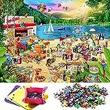 puzzles para adultos 1000 piezas Vintoney Rompecabezas de fiesta junto al mar Decoración del hogar Jigsaw Puzzles juegos de puzles familiares 69x51cm (fiesta de playa animal)