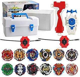 XIXI-POPOMT 12 pcs Bayblades Burst Turbo Evolution Metal Fusion Bay Blade Toys Gyro Battling Game Starter Pack Set with 12 Spinning Top + 3 Launchers - White Box