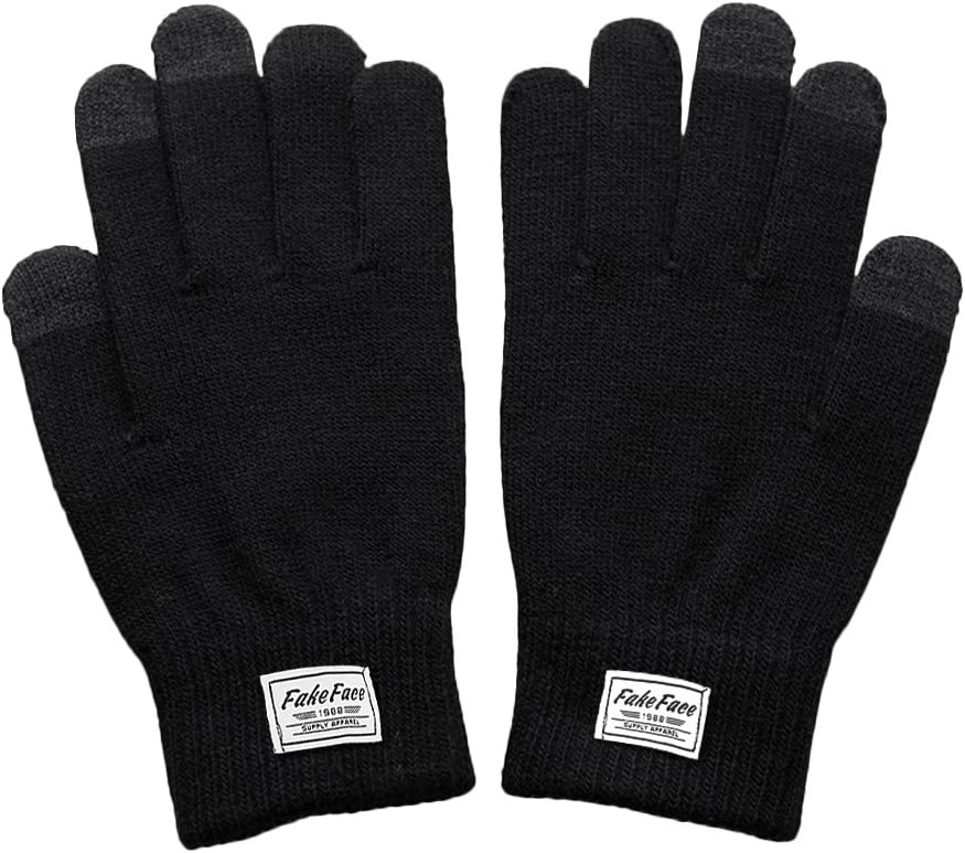 FakeFace Unisex Touchscreen Glove Winter Warm Wool Knit Gloves Mittens Outdoor Texting Gloves for Skiing Cycling Xmas Gift