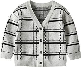 Xifamniy Infant Baby Long Sleeve Sweater Plaid Element Cotton Fashion Cardigan Coat