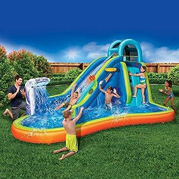 Inflatable Giant Water Slide - Huge Kids Pool  14 Feet Long by 8 Feet High  with Built in Sprinkler Wave and Basketball Hoop - Heavy Duty Outdoor Surf N Splash Adventure Park - Blower Included