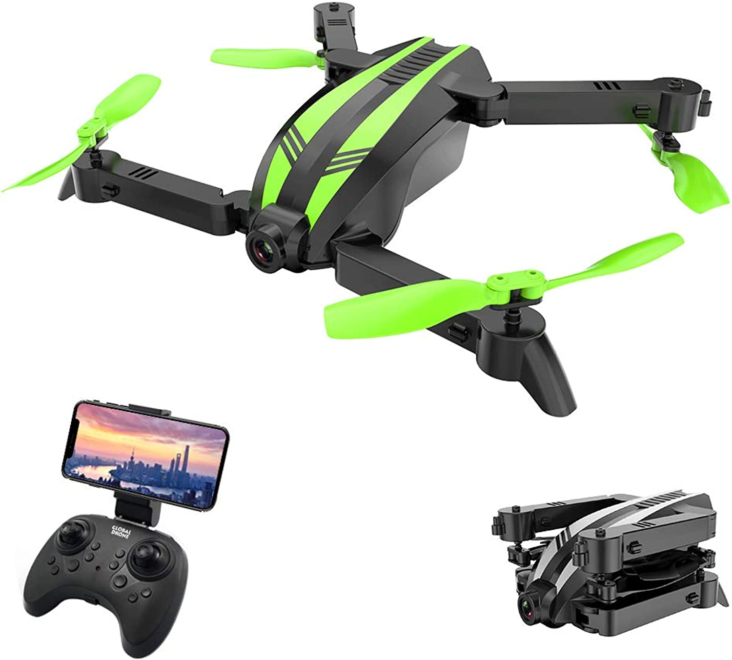 DishyKooker GW68 WiFi with 0.3MP 2.0MP Angle Camera 12mins Flight Time Selfie Mini RC Drone Quadcopter 2.0MP Angle Green