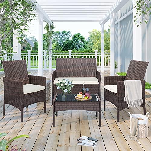 Topchances Outdoor-Möbel-Set, 4 Personen, Gartentisch und Stühle, Rattan-Tisch, Stuhl, Loveseat Sofa mit Cusion für Garten/Terrasse/Balkon/Pool/Outdoor, 4er-Set (braun)