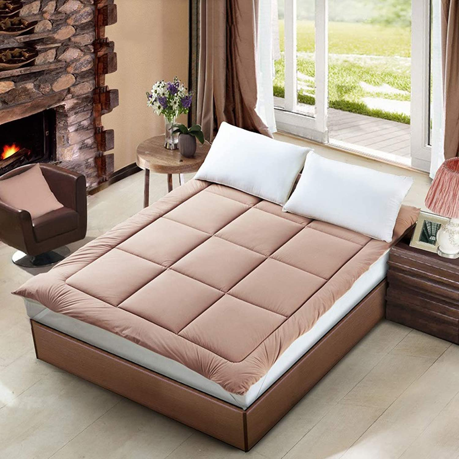 Mattress Topper Predection Pad Tatami Bed Mattress Be Made A Scapegoat Bed Linings Both Front and Back Can Be Used (color   Brown, Size   1.5 x 2.0 m (5 ft))