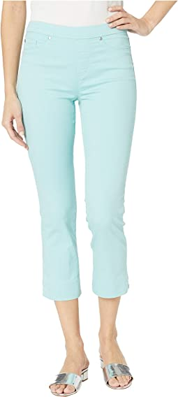 Soft Touch Denim Pull-On Capris w/ Side Slit in Ocean Wave