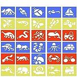 BUZIFU Plantillas de Dibujo(30 Unidades), Plantillas de Dibujo Infantil, Plantillas de Plástico Flexibles, Animales, Insectos, Transportes y Dinosaurios, para Aprenden a Dibujar de Forma Divertida