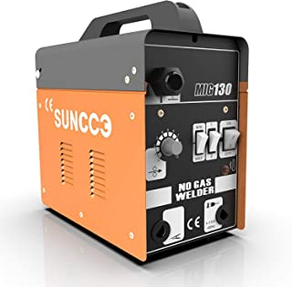 SUNCOO MIG 130 Welder Flux Core Wire Automatic Feed Welding Machine No Gas 110 Volt Portable Little Welder Machine with Mask and Spool Gun Yellow