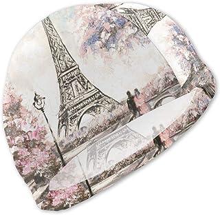 Pintura al óleo Vista de Paris Swim Caps Niños Impermeable Cómodo Gorro de baño