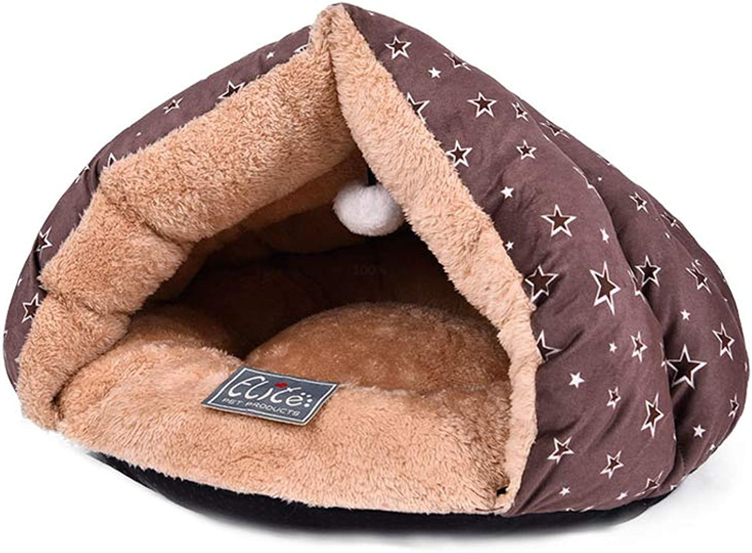 Cat Bed, Closed Small Cat Dog Pet Bed Four Seasons Universal Cat Sleeping Bag Pet Nest, MultiSize (color   Brown, Size   S)