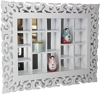 elbmöbel Rejilla de Espejo Color Blanco Antiguo Rústico Pared Espejo setzkasten Estantería Hecha a Mano Adornos colecc...