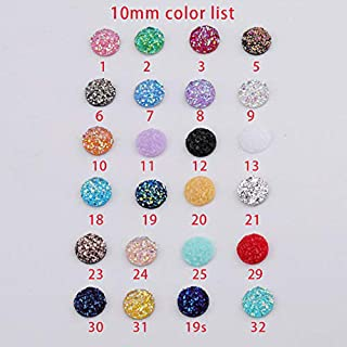 New Bling AB Color 10PCS 10mm Concave Mineral Surface Round Resin Rhinestone Flatback Cabochon Stone DIY Wedding Decoration DIY Jewelry Patch (8)
