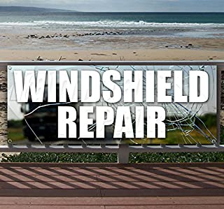 Windshield Repair 13 oz Heavy Duty Vinyl Banner Sign with Metal Grommets, New, Store, Advertising, Flag, (Many Sizes Available)