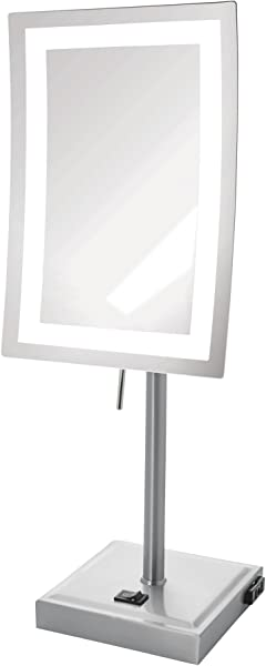 Jerdon JRT910NL 5X Magnified Lighted Tabletop Rectangular Mirror Nickel Finish 67 2 Ounce