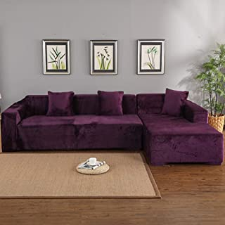 QTDJ Thick Plush Sofa Slipcover 1 2 3 4 Seater Pure Color L-Shaped Sofa Protector Decoration Velvet Easy Fit Elastic Fabric Stretch Couch Slipcover -Purple 75-91in