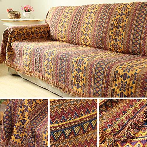Kiko-ershaa Tagesdecke Sofaüberwurf Gelb Wohndecke Baumwolle Bett Verdickte warme, geflochtene Tagesdecke aus Reiner Baumwolle, Patchwork-Strickdecke mit Quasten